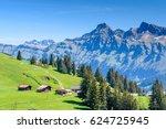 the swiss alps at murren ... | Shutterstock . vector #624725945