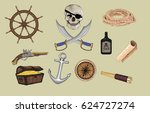 set of pirate icons   vector  | Shutterstock .eps vector #624727274