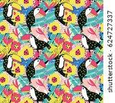 toucan floral seamless pattern. ... | Shutterstock .eps vector #624727337