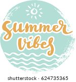 summer cards with hand drawing... | Shutterstock .eps vector #624735365