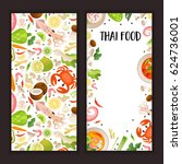 set of cards with thai food and ... | Shutterstock .eps vector #624736001