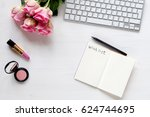 woman desk with accessories and ... | Shutterstock . vector #624744695