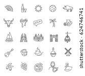 spain outlined icon set | Shutterstock .eps vector #624746741