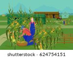 farm with a corn field and... | Shutterstock .eps vector #624754151