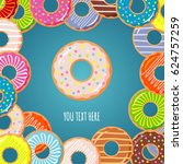 poster donuts. vector...   Shutterstock .eps vector #624757259