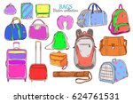 doodle colored travel baggage... | Shutterstock .eps vector #624761531