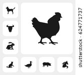 hen icon. vector sign symbol on ... | Shutterstock .eps vector #624771737