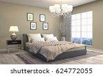 bedroom interior. 3d... | Shutterstock . vector #624772055