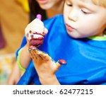 little girl with paint brush... | Shutterstock . vector #62477215