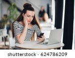shocked woman holding and... | Shutterstock . vector #624786209