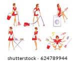 colorful home cleaning set with ... | Shutterstock .eps vector #624789944