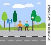 bus stop | Shutterstock .eps vector #624790025