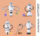 set of robot cleaners.... | Shutterstock . vector #624793805