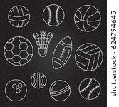 sport balls on black background ... | Shutterstock .eps vector #624794645