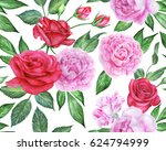 seamless floral pattern with... | Shutterstock . vector #624794999