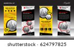 collection of roll up banner... | Shutterstock .eps vector #624797825