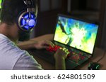 young gamer playing video game...   Shutterstock . vector #624801509