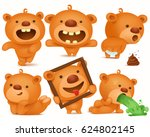 set of teddy bear cartoon... | Shutterstock .eps vector #624802145