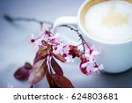 composition with flowers and a... | Shutterstock . vector #624803681