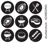 bbq icons set. white on a black ... | Shutterstock .eps vector #624803981