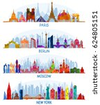 set of vector architecture ... | Shutterstock .eps vector #624805151