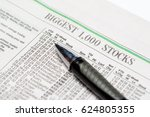 an expensive pen on a stock... | Shutterstock . vector #624805355