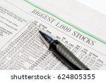 an expensive pen on a stock...   Shutterstock . vector #624805355