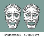 comedy and tragedy theater... | Shutterstock .eps vector #624806195