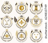 set of old style heraldry... | Shutterstock . vector #624810749