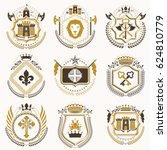 vintage heraldic coat of arms... | Shutterstock . vector #624810779