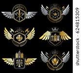 vintage decorative heraldic... | Shutterstock . vector #624815309