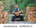 the harvester working in a... | Shutterstock . vector #624818111