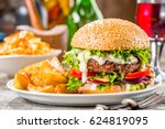 an american burger with fried... | Shutterstock . vector #624819095