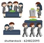 funeral set on white | Shutterstock .eps vector #624822095