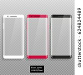 set front cover smartphone with ... | Shutterstock .eps vector #624824489
