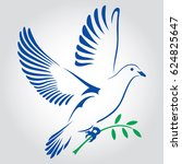 flying dove  with a green twig. ...   Shutterstock . vector #624825647