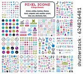 flat 8 bit icons  collection of ... | Shutterstock . vector #624826481