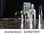 on the table there are ampoules ... | Shutterstock . vector #624827345