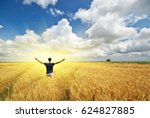 Man In Meadow Of Wheat And...