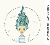beautiful girl with flying hair ...   Shutterstock .eps vector #624834899