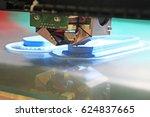 modern 3d printer printing... | Shutterstock . vector #624837665