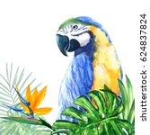 Parrot And Tropical Leaves On ...