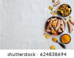 fresh and dried turmeric roots... | Shutterstock . vector #624838694