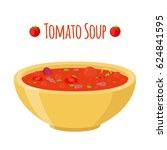 tomato soup with meat  beet ... | Shutterstock .eps vector #624841595