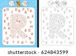 worksheet for learning alphabet ... | Shutterstock .eps vector #624843599