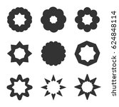 set of black geometric flowers. ... | Shutterstock .eps vector #624848114