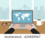 hands on laptop keyboard... | Shutterstock .eps vector #624850967