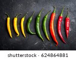 variety of chili peppers. red ...   Shutterstock . vector #624864881