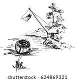 sketch with fishing scene in... | Shutterstock .eps vector #624869321