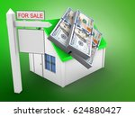 3d illustration of simple house ... | Shutterstock . vector #624880427